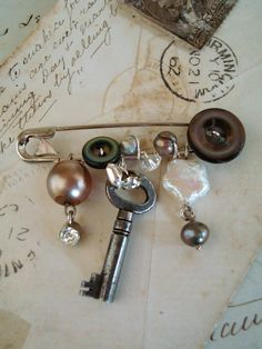 vintage charm safety pin brooch