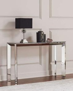 Shop Bradshaw Polished Nickel Console Table, Smoke Gray/Silver from Interlude Home at Horchow, where you'll find new lower shipping on hundreds of home furnishings and gifts. Decor, Furniture, Interior, Home Decor, Console Table Decorating, Furniture Side Tables, Luxury Home Furniture, White Furniture Living Room, Home Decor Furniture
