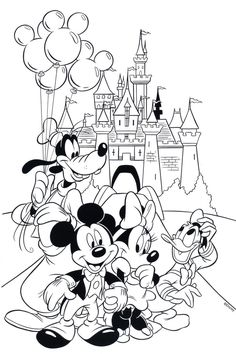 Free Disney Coloring Page features Cinderella's castle and all the gang at Walt Disney World! Printable