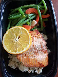 Orange Marinated Salmon over Sweet Cauliflower Rice and Garlic Veggies  -- Evensen Personal Menus