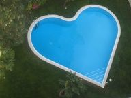 I really HATE this pool.guitar shaped pool suck pretty bad as well. Outdoor Spaces, Outdoor Living, Outdoor Decor, My Funny Valentine, Valentines, Heart In Nature, Pool Designs, My Dream Home, Heart Shapes