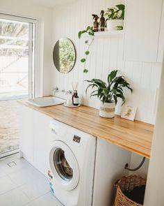 Bunnings Laundry, Dream Home Design, House Design, Modern Laundry Rooms, Black Granite Countertops, Washing Machine And Dryer, Laundry Room Design, White Doors, Home Reno