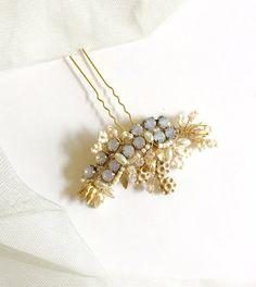 Lila  Serenity Lavender Opal Bridal Hair pin  Gilded by amuandpri