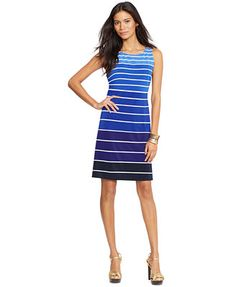 American Living Sleeveless Ombre Striped Sheath Dress