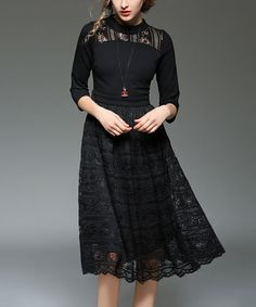 Another great find on #zulily! Black Lace-Accent Mock Neck Three-Quarter Sleeve Dress #zulilyfinds