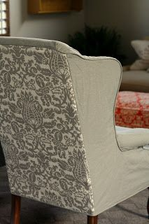 Custom Slipcovers by Shelley: Gray Wingbacks with Damask Back