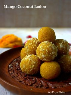 Quick Mango Coconut ladoo - 4 ingredients, flat 20 minutes to make this Simple Indian Sweets Recipe, Indian Dessert Recipes, Sweets Recipes, Snack Recipes, Cooking Recipes, Halal Recipes, Fudge Recipes, Pudding Recipes, Healthy Dessert Recipes