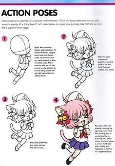 How to draw chibis Sakura in action jump
