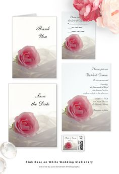 Set a classy tone for your impending nuptials when you personalize the elegant Pink Rose on White Wedding Invitations, Save the Dates, Thank You Notes and Postage Stamps. Each classy custom marriage stationery piece features a floral photograph of a pink rose flower blossom and white bridal veil with a bright white background. #pinkwedding #weddinginvitations