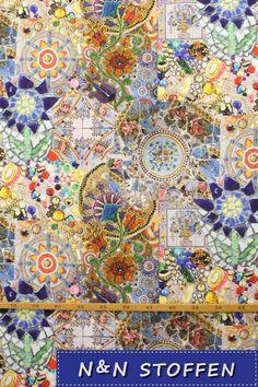 Bedrukte stof digitale print Gaudí style - N & N Stoffen