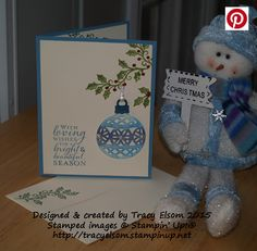 This Christmas card was created using the Embellished Ornaments Stamp Set and Delicate Ornament Thinlits Dies (available as a bundle) from Stampin' Up! http://tracyelsom.stampinup.net