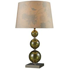 Green Smoked Glass Spheres Table Lamp -
