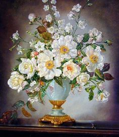Cecil Kennedy - flowers, white