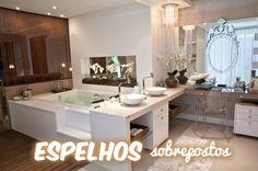 Construindo Minha Casa Clean: 15 Espelhos Sobrepostos na Decoração - Veja Dicas de Como Usar!