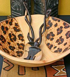 African Safari Print Salad Bowl African Theme, African Safari, African Style, African Interior, African Home Decor, Zebra Chair, African Furniture, Safari Decorations, Safari Theme