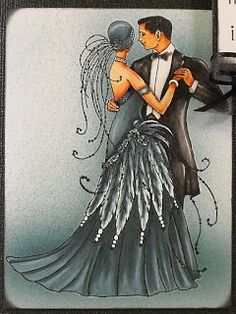 In Rosie's Book: Card Art with Copics: Crafts and Me Art Deco Couple