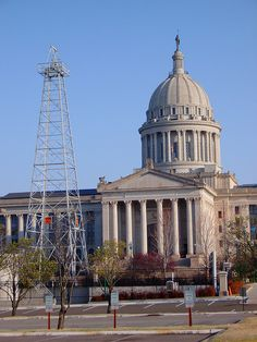 Ok State Capitol with working oil well