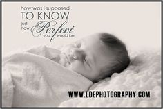 Tampa Newborn Photography LDE Photography Baby Quote How was I to know perfect?