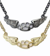 Little winged brass knuckles make a cool necklace. Necklace hangs at 18