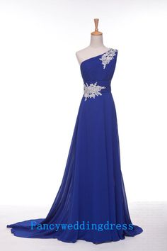 Sapphire Blue A-Line Beading Sweetheart One-shoulder Sweep Train Long Chiffon Prom Gown Bridesmaid Dress Evening Dresses Formal Dress on Etsy, £65.21