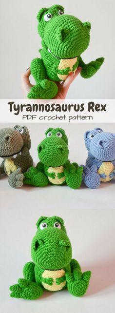Toys Dinosaurier T-Rex Dinosaur crochet pattern. Make your own tyrannos. Toys Dinosaurier T-Rex Dinosaur crochet pattern. Make your own tyrannosaurus rex stuffed a Chat Crochet, Crochet Baby Toys, Crochet Gratis, Crochet Animals, Crochet For Kids, Crochet Dolls, Free Crochet, Crochet Stuffed Animals, Crochet Dinosaur Patterns