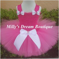 Pink Tutu Dress with White Bows
