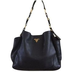 Pre-Owned Prada Vitello Daino Side Pockets Hobo Bag (€1.015) ❤ liked on Polyvore featuring bags, handbags, shoulder bags, black, pre owned handbags, pre owned purses, hobo handbags, prada handbags and hobo shoulder handbags