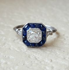 Art Deco Old Mine Diamond and Sapphire by CypressCreekVintage