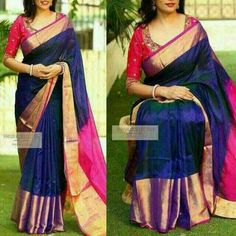 Uppada Pure Silk Saree Handloom Indian Wedding uppada pattu with jewelly Blue Silk Saree, Soft Silk Sarees, Navy Blue Saree, Pattu Saree Blouse Designs, Saree Blouse Patterns, Churidar Designs, Sari Bluse, Silk Saree Kanchipuram, Indian