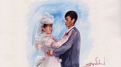 Drawing Time Lapse - Watercolor Portrait of Wedding Couple - Портрет Мол...