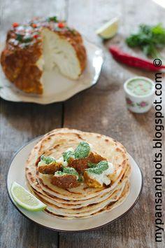My pans and pots: Tandori karfiol sa čatnijem od mente i lisnatim hlebom / Tandoori cauliflower with mint chutney and parathas