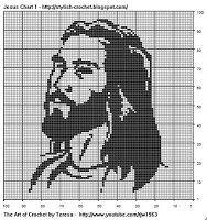 Free Filet Crochet Charts and Patterns: Filet Crochet Jesus- Chart 1