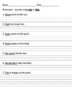 b027412985a8 First Grade Morning Work Pronoun FREEBIE First Grade Writing