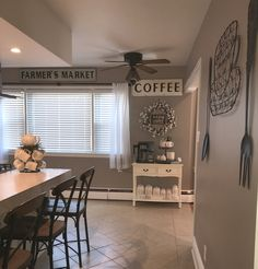 Farmhouse kitchen, cotton wreath, coffee bar, rae Dunn display, perfect greige