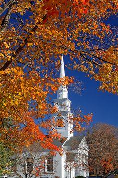 Church, Hanover, Indian Summer, New Hampshire, USA