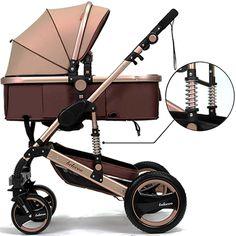 Belecoo™ Luxury Newborn Baby Foldable Anti-shock High View Carriage Infant Stroller Pushchair Pram(Golden)