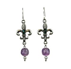 """Amethyst bead drop & Emerald crystal accents French hooks Dimensions 2.25"""" X…"""