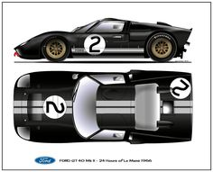Ford GT40 Mk II 1966 Sports Car Racing, Sport Cars, Gt Cars, Race Cars, Car Illustration, Illustrations, Le Mans, Car Prints, American Classic Cars