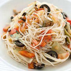 cold capellini salad Husband Lunch, Capellini, Love Food, Dressings, Side Dishes, Spaghetti, Nutrition, Salad, Ethnic Recipes