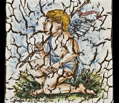 Pottery - Decorated tile with lava powder - Cherub | Touch of Sicily