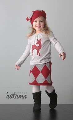 LOVE! skirt and matching hat made from a sweater - click through for the easy sewing tutorial. What a great Christmas outfit for a little girl!