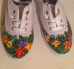 Tropical hand painted shoes