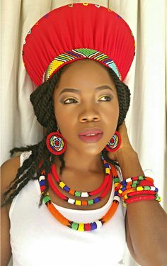 Royalty Red Zulu outfit. African Wear, African Dress, African Fashion, African Necklace, African Jewelry, African Children, African Women, African Traditional Dresses, Traditional Outfits