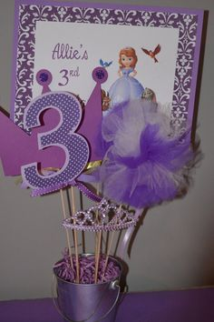 Sofia the First Centerpiece, birthday party decoration.but with Bubble Guppies stuff. Birthday Party Centerpieces, 4th Birthday Parties, Birthday Decorations, 3rd Birthday, Birthday Ideas, Table Decorations, Sofia The First Birthday Cake, Princess Sofia Birthday, First Birthdays
