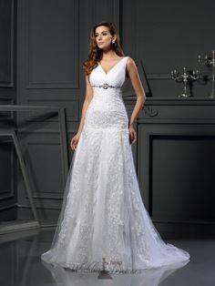 A-Line Satin Applique Chapel Train Beading Wedding Dresses