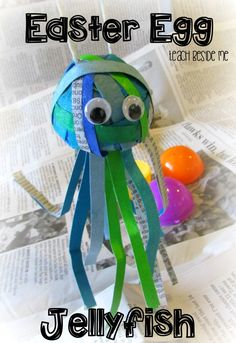 Use up your leftover plastic eggs with this Easter Egg Jellyfish Craft from Teach Beside Me