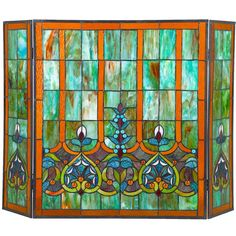 3 Panel Stained Glass Fireplace Screen
