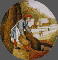 23_Питер Брейгель младший Адский (1564-1638)_Из цикла Нидерландские пословицы_Крестьянин засыпает колодец когда в нём утонул телёнок_дерево(дуб)масло