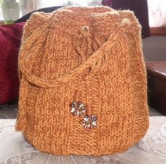 Crossbody Bag Knitted Orange Yellow Wool Handbag by NeedleCraftNook on Etsy #handmade #bags #knitted