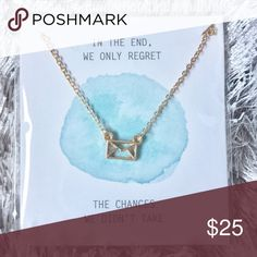 """✨BNWT✨ Inspirational necklace - gold This necklace makes a GREAT stocking stuffer!! 🎁Check out my other listings for more inspirational quotes✨  Quote: """"In the end, we only regret the chances we didn't take"""" Charm: Envelope Color: Gold Jewelry Necklaces"""